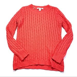 Forever 21 Orange Pink Crewneck Knit Sweater Small